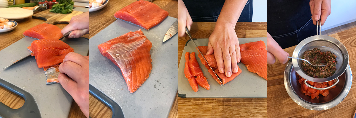 НАрезаем лосось