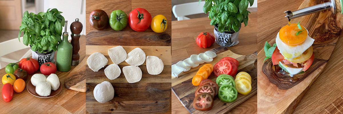 Ingredients for tomato and mozzarella mille-feuille