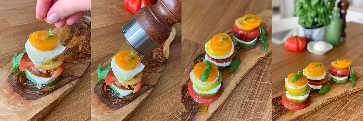 Tomato and mozzarella mille-feuille. Cooking at home with step-by-step recipes.