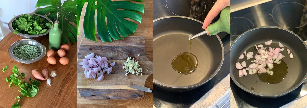 Зеленая тортилья готовится на оливковом масле