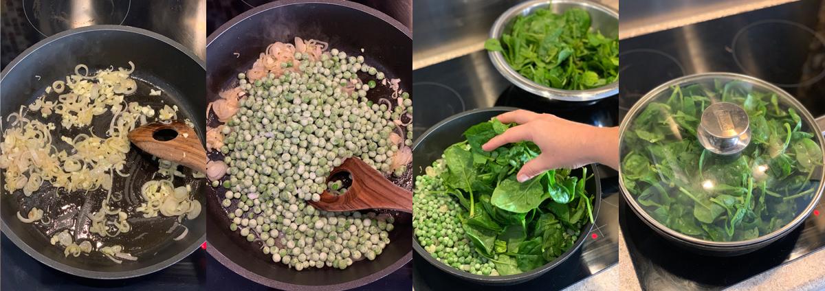 Зеленая тортилья с луком-шалотом, горохом и шпинатом