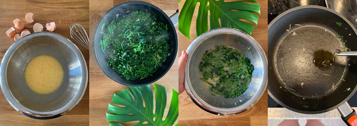 Зеленая тортилья - готовим яичную смесь